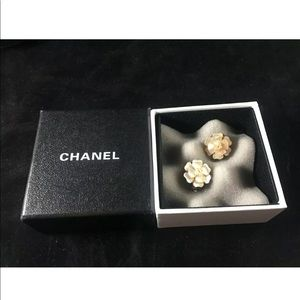CHANEL Mother Of Pearl Camellia Earrings Marked